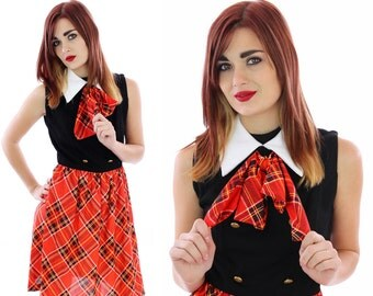 60s Mod Dress Vintage Red Plaid Ascot Tie School Girl Preppy Secretary Sixties 70s Mad Men 1960s London Twiggy Mini A-line Small S Medium M