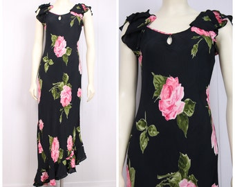 vintage black + rose print dress 1930s inspired full length cocktail gown flutter cap sleeve keyhole neck vtg 1990s wedding party