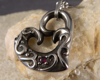 Large Stainless Steel Heart Necklace