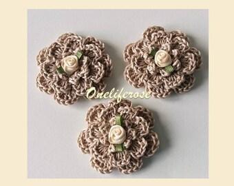 Crochet Flowers with Rose 3 pcs Latte