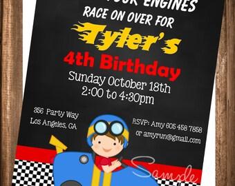 Racer Invitation, PRINTABLE Race Car Invitation, Printable Race Car Party Birthday Invitation, Digital Invite