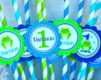 Frog Prince Paper Straws, Frog Prince Birthday Party - Set of 12