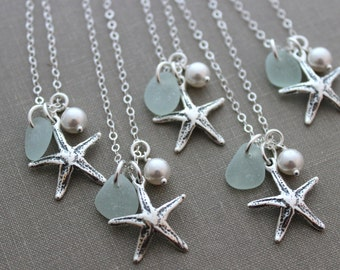Bridesmaid Gift Set, Sterling Silver Starfish, Personalized Charm Necklaces with genuine Sea glass and Pearl, Beach Wedding, Seastar