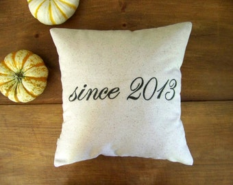 personalized anniversary pillow cover- embroidered - wedding - engagement - gift - custom - linen - wedding gift - wedding pillow