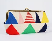 Frame purse with two sections - Triangles in blue - Wowlet / Kisslock wallet / Geometric Modern / green yellow red pink / Japanese fabric