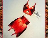 Bettie's Brassiere & Girdles Set Red