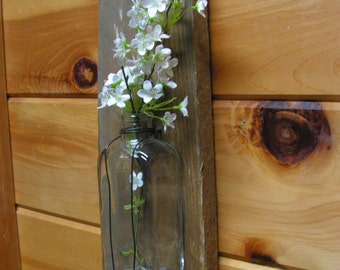 French Country Salvaged Barn wood and glass bottle vase wall hanging