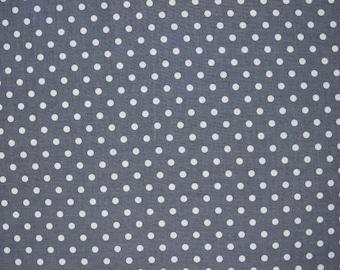 Yuwa Gray Polka Dots Japanese import sold in 1/2 yard increments