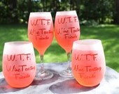 WTF - Wine Tasting Friends Frosted Etched White Wine Glasses Set Of 2