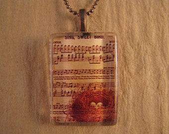 """Bird's Nest Musical Flat Rectangle Glass Pendant with 24"""" Ball Chain Necklace"""