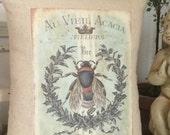 French Bee Abeille Grain Sack Throw Pillow,  French Script Grainsack Pillow , French Country Throw Pillow,  Cottage Pillow