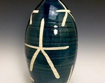 Large Bud Vase; Fine Art Ceramics; Asian Inspired