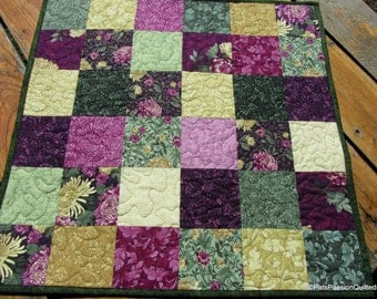 Quilted Table Topper Plum Green. Floral Quilted Table Runner, Quiltsy Handmade Quilted Table Topper Mums Pink Green Gold