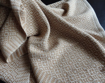 Handwoven Organic Cotton Towel in Natural and Dark Brown Foxfibre