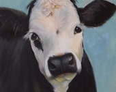 Animal Oil Painting,Cow Portrait,Bertha, 16x16 Canvas Original Art by Cheri Wollenberg