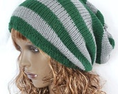 "ON Sale Knitted Slouch Slouchy Knit  Dreads Vegan Hat Oversized Slouchy Beanie Hat Gray Dark Green 24"" - 27"""