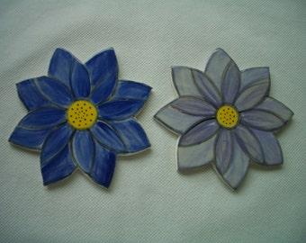 TR - BLUE, LAVENDER Lotus Blossoms - Ceramic Mosaic Tiles