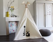 Teepee tent MIDI - plain canvas play tent personalized | BLACK