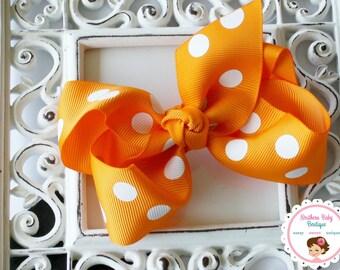 SUMMER SALE---Boutique Baby Girl Hair Bow Clip or Crochet Headband---Tangerine Polka Dot----