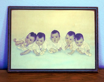 Vintage Framed Print of the Dionne Quintuplets from 1935 - Dionne Quints Baby Picture - Wood Frame - NEA Service Photo Celebrity Memorabilia