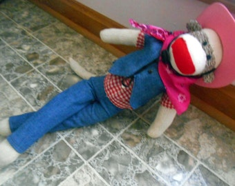 Cowgirl Original Classic New Dressed Will Personalize Handmade Sock Monkey