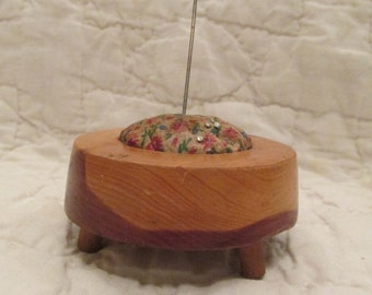 Vintage pin cushion with wood raised base SALE