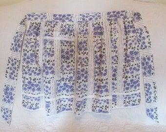 Vintage Apron Purple Roses Cotton