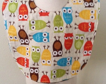SALE boutique style owls baby bib