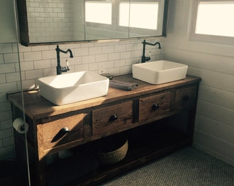 YOUR Custom Rustic Barn Wood Double Vanity or Cabinet with a Shelf and Drawers with FREE SHIPPING - BWVS4D1050CF