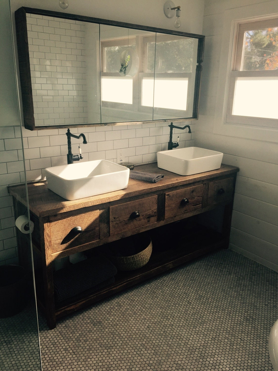 YOUR Custom Rustic Barn Wood Double Vanity Or Cabinet With A