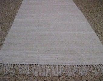 Handwoven White Rag Rug 25 x 70