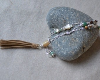 Boho Tassel Necklace. Leather Tassel. Agate, Aventurine -  Mother of Pearl. Rustic Necklace.  Beige - Green Silver Chain Necklace.