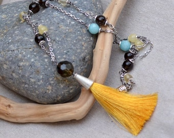 Boho Yellow Silk Tassel Necklace.  SUNNY DAY Gemstone Stainless Steel Chain Long Necklace.  Smoky Quartz, Citrine, Amazonite.