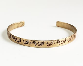 Etched Brass Cuff Art Deco Flower Bracelet - Free Domestic Shipping