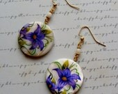 Purple Flowers-white shell earrings, 2 1/2 inches or 6.5 cm