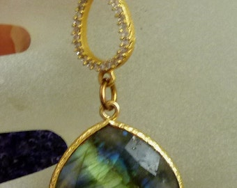 Otherworldly Haunting Blue Labradorite 22k Gold Vermeil Necklace with Free U.S. Shipping