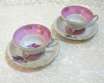 Tea For Two, Footed Teacups And Saucers, Pink Roses