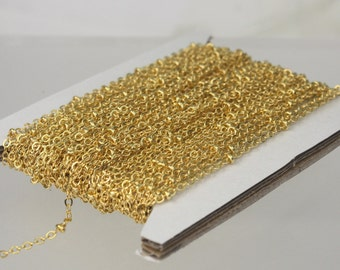 10 ft Gold Plated Satellite Chain Flat BALL Chain - 2.4x1.7mm SOLDERED link - Tiny Small Ball Flat Cable Chain - Bulk Wholesale