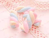 Polymer Clay Charms - Polymer Clay Pastel Color Marshmallow - 8 pieces