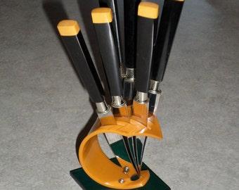 KBS Solingen Rostfrei Germany bumble bee Art Deco black & yellow Bakelite fruit Knife Set in bakelite lucite stand