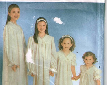Girls Nightgown Sewing Pattern Simplicity 9942 Pajamas Night Gown Child Size 7 8 10 12 14 16 Children M L XL Bust 26 27 28.5 30 32 34