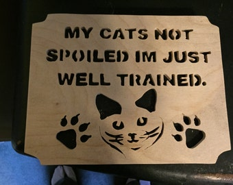 Trained cat wall hanging