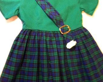 SALE- Vintage Scotch Tartan Child's Dress, Size 4 from Barneche/Stephanie Barnes