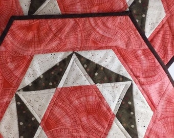 Handmade Quilted Table Toppers salmon ecru brown Quiltsy Pair of two