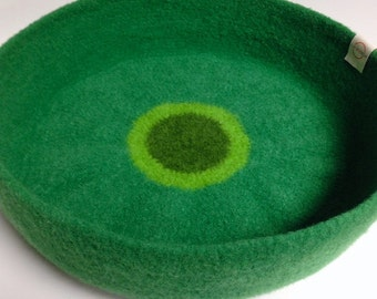 Modern Cat Bed Knit Crochet Wool Handmade Felted Pet Bed in Grass Green with Dark and Light Green Circles