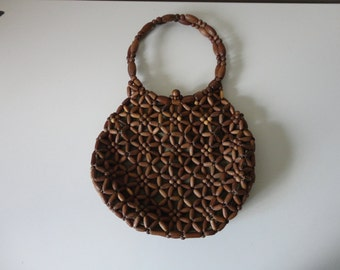VINTAGE 1970s wooden BEADED HANDBAG