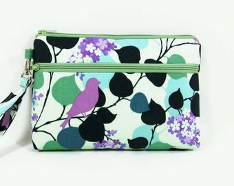 Prospect park iPhone 6 wristlet, birds cell phone purse, credit card clutch, makeup bag, cell phone holder, cosmetic pouch