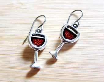 Glass Red Wine Bordeaux Hand Painted Earrings Tibetan Silver