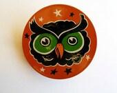 OWL'S HEAD NOISEMAKER - Handpainted Halloween Folk Art Vintage Tin Toy Rattle ooak