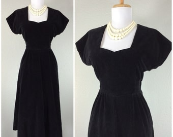 Vintage 1940s Dress Black Velvet WWII Cocktail Party Film Noire Hollywood Glam Dress